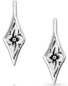 Montana Silversmiths Women's Antiqued Wildflower Diamond Earrings, Silver, hi-res