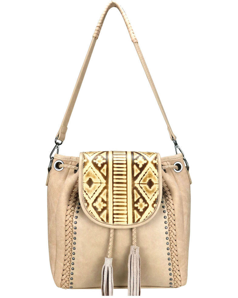 Trinity Ranch Women's Embossed Leather Crossbody Purse, Tan, hi-res