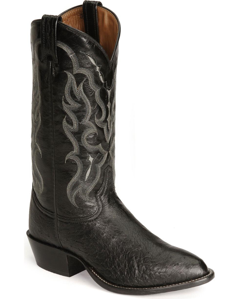 Tony Lama Men's Smooth Ostrich Cowboy Boots - Medium Toe, Black, hi-res