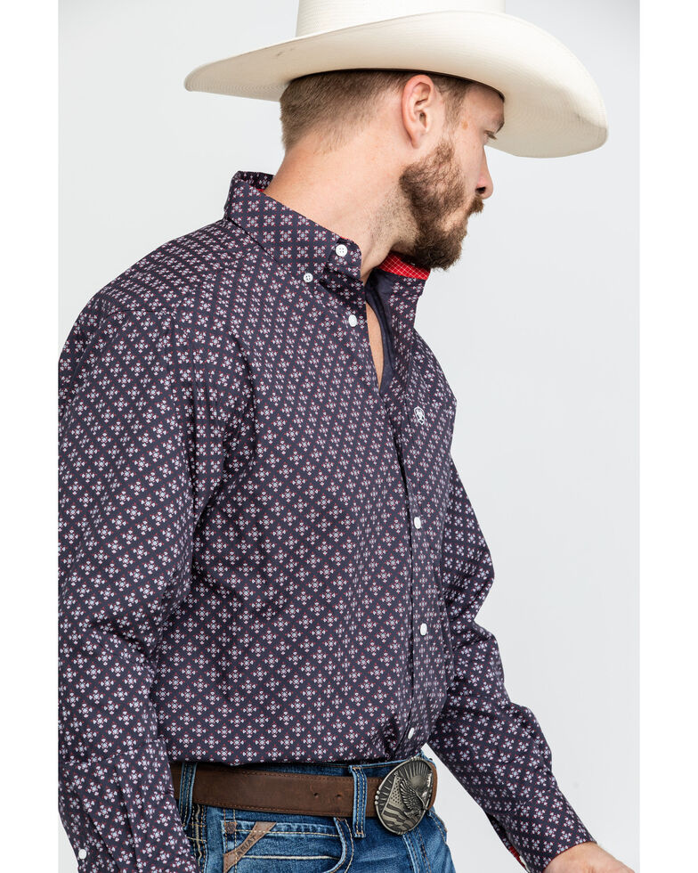 Ariat Men's Wrinkle Free Cleaves Geo Print Long Sleeve Western Shirt - Big , Grey, hi-res