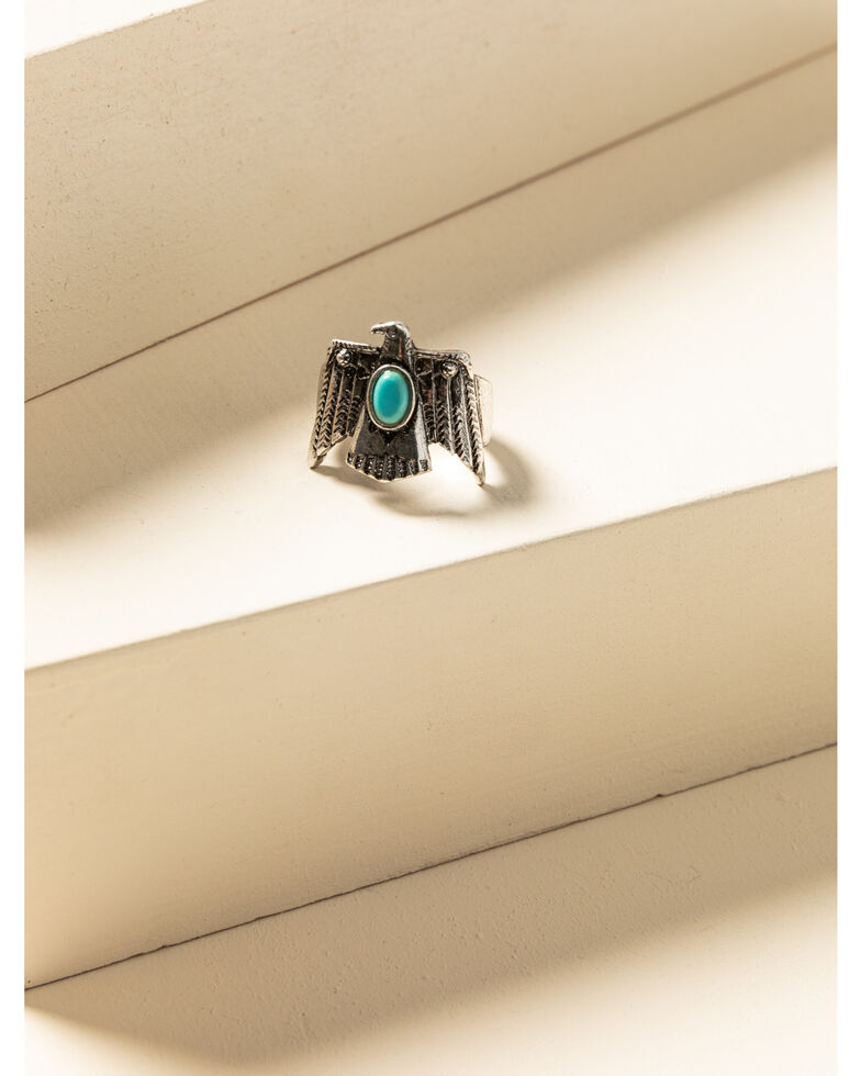 Idyllwind Women's Turquoise Beaded Thunderbird Ring, Silver, hi-res