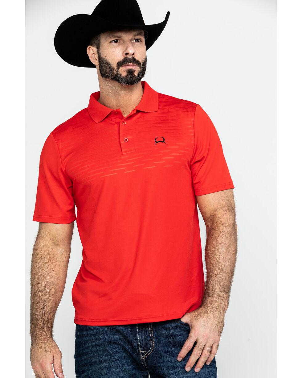 Cinch Men's Red Arena Flex Short Sleeve Polo Shirt , Red, hi-res
