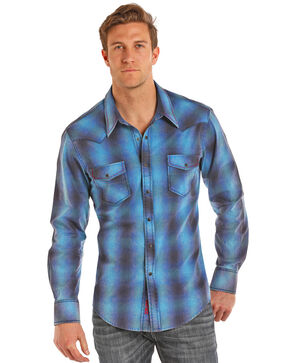 Rock & Roll Cowboy Men's Ombre Plaid Yarn Dye Long Sleeve Shirt , Light Blue, hi-res