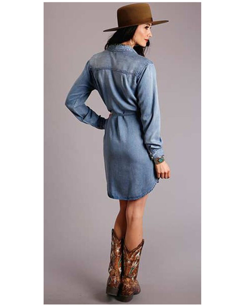 Stetson Women's Denim Snap Shirt Dress , Blue, hi-res