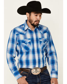Ely Walker Men's Assorted Large Plaid Textured Long Sleeve Snap Western Shirt - Tall , Multi, hi-res