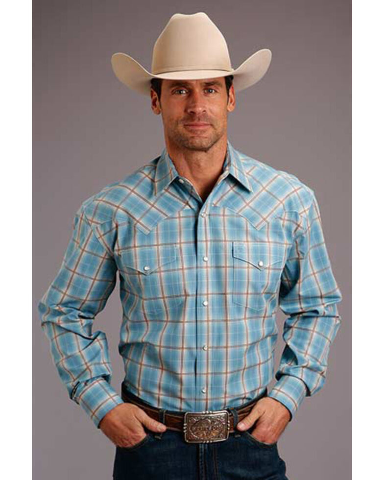 Stetson Men's Turquoise Ombre Plaid Long Sleeve Western Shirt  , Turquoise, hi-res