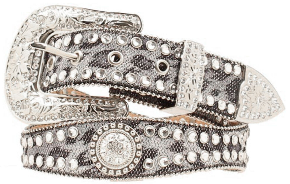 Blazin Roxx Scalloped Leopard Print Embellished Belt, Grey, hi-res