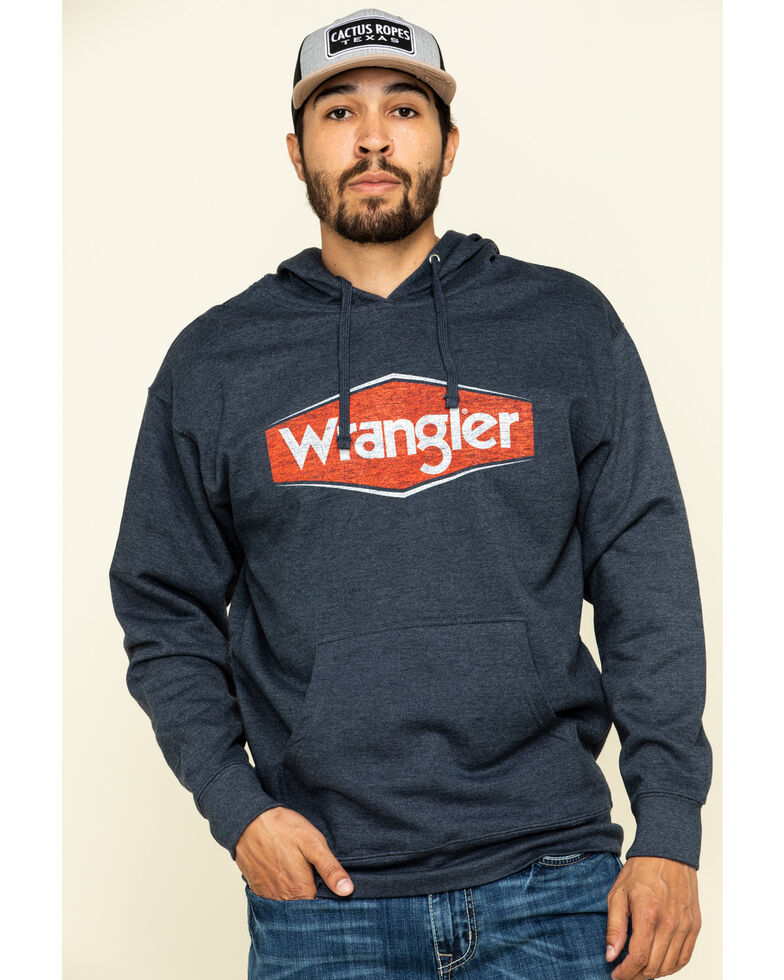 Wrangler Men's Navy Logo Hooded Sweatshirt , Navy, hi-res
