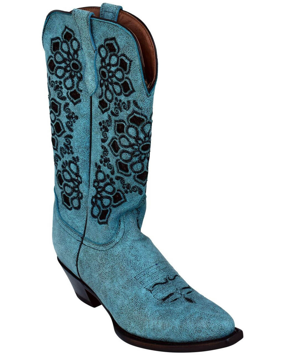 Ferrini Women's Country Glam Western Boots - Snip Toe, Turquoise, hi-res