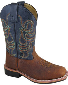 Smoky Mountain Boys' Jesse Bison Leather Print Boot - Square Toe, Brown, hi-res