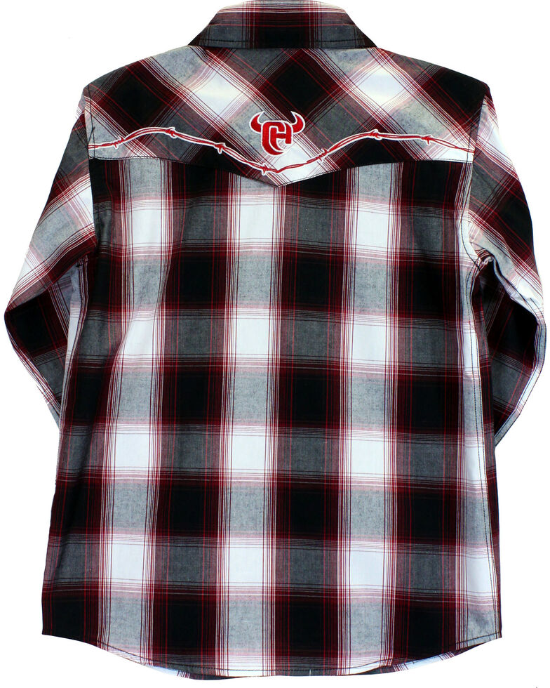 Cowboy Hardware Boys' Barbed Wire Ombre Plaid Long Sleeve Shirt, Red, hi-res