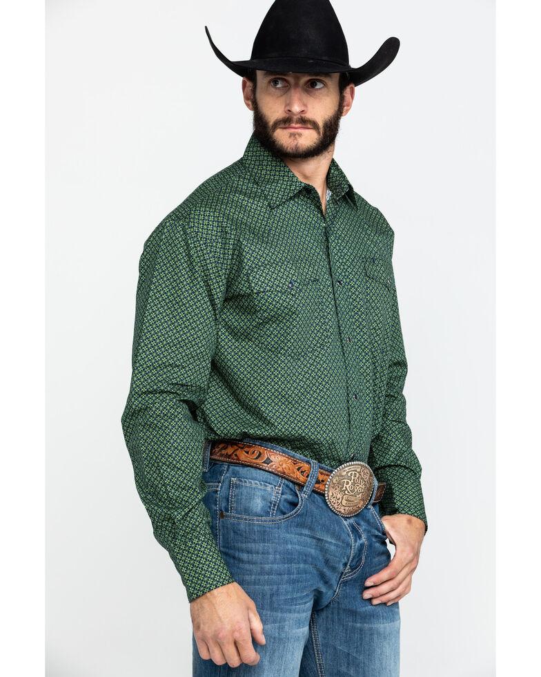 Roper Men's Amarillo Meadow Satelite Geo Print Long Sleeve Western Shirt , Green, hi-res