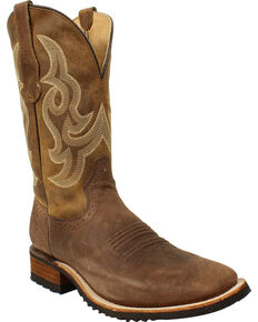 Circle G by Corral Men's Tan Leather Boots - Wide Square Toe , Tan, hi-res