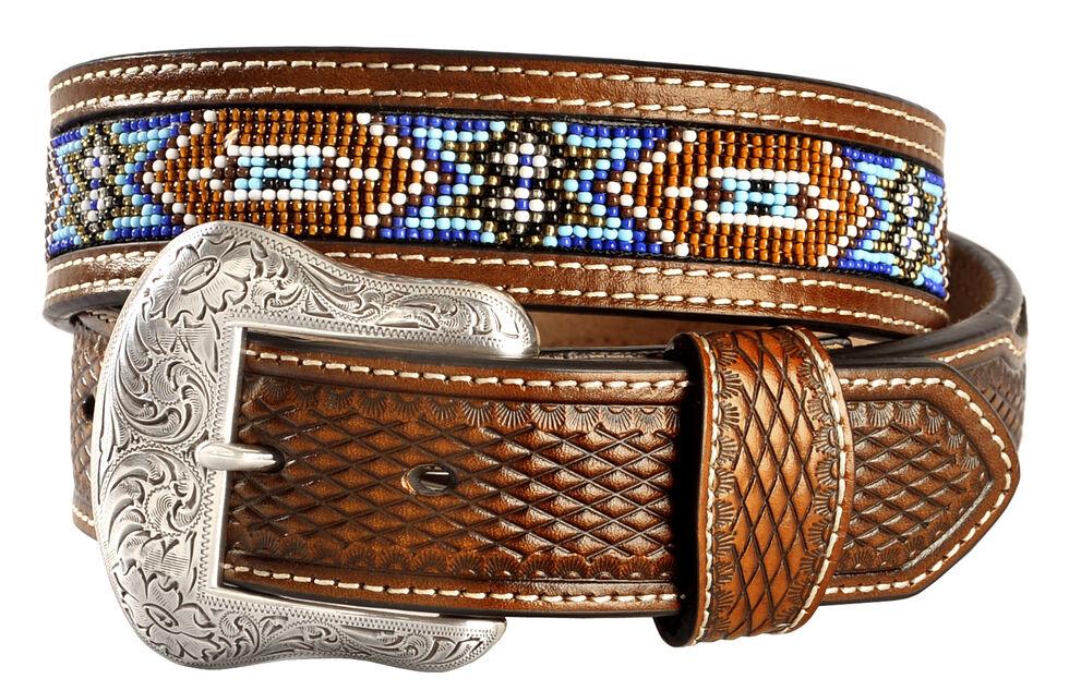 Nocona Basketweave Leather Billets Western Belt, Tan, hi-res