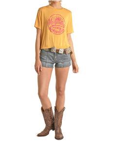 Rock & Roll Cowgirl Women's Mustard Margaritas For My Senoritas Graphic Tee , Dark Yellow, hi-res