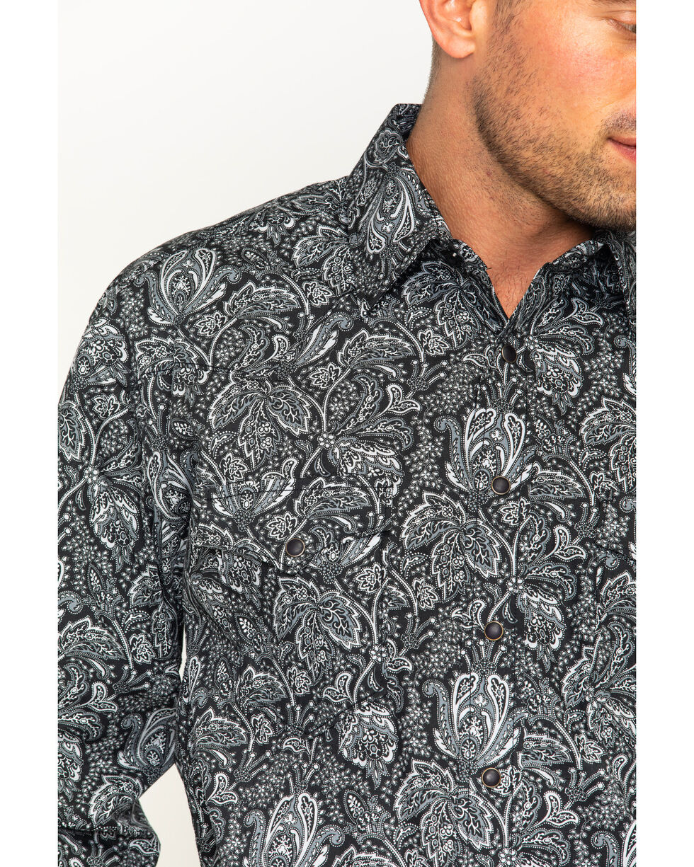 Rough Stock by Panhandle Men's Alsemberg Vintage Print Snap Shirt, Black, hi-res