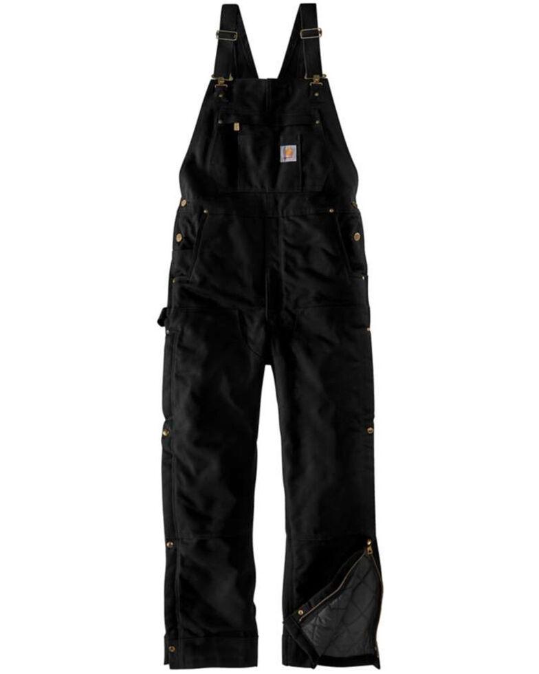 Carhartt Men's Black Firm Duck Insulated Bib Work Overalls , Black, hi-res