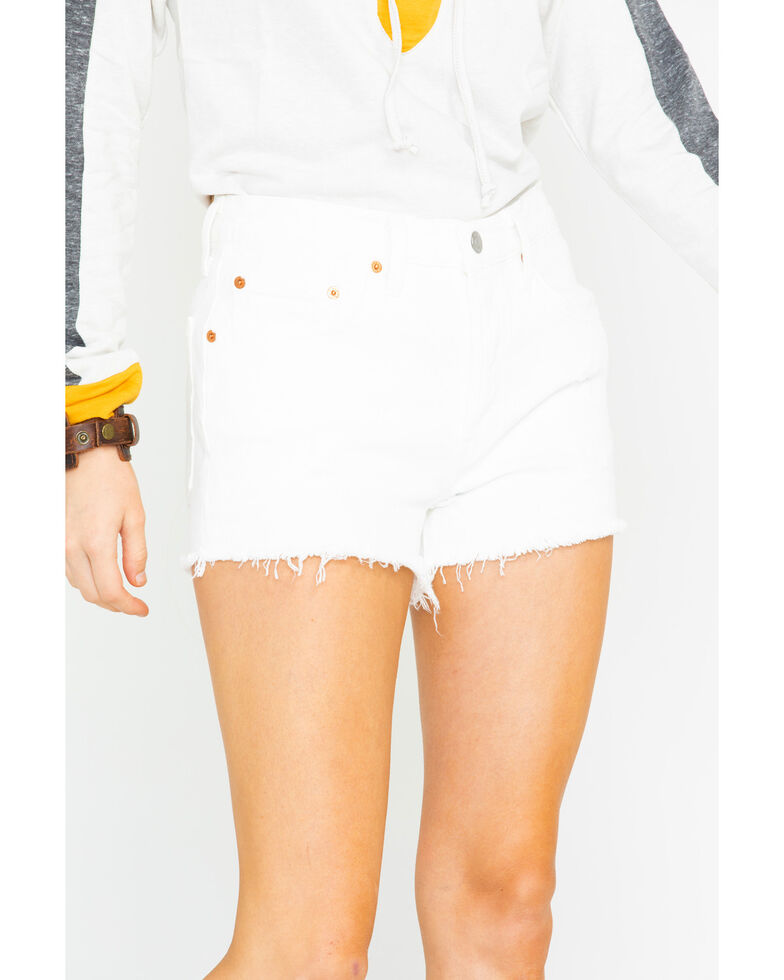 Levis Women's White Riged High Rise Shorts , White, hi-res