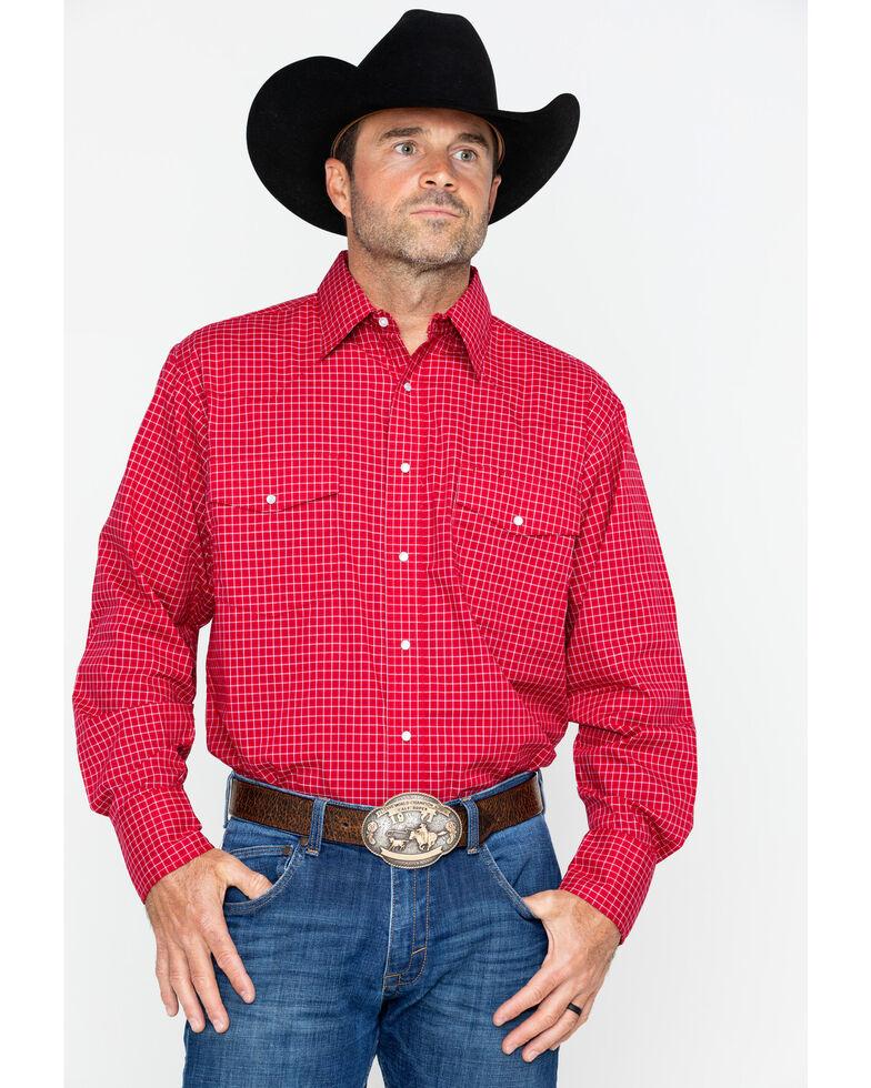 Wrangler Men's Wrinkle Resist Mini Plaid Shirt , Red, hi-res
