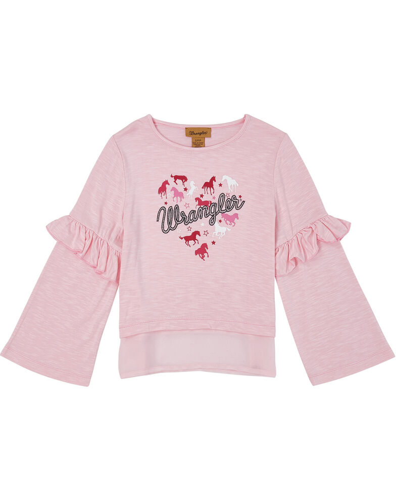 Wrangler Girls' Pink Horse Heart Ruffle Long Sleeve Top, Pink, hi-res