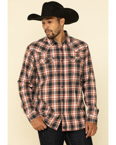 Cody James Men's Spruce Plaid Long Sleeve Western Flannel Shirt , Black/red, hi-res