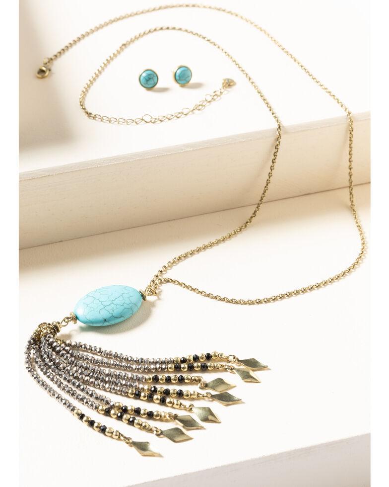 Shyanne Women's Gilded Gold Turquoise Stone Beaded Tassel Set, Gold, hi-res