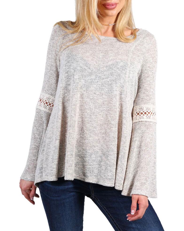Moa Moa Women's Grey Tieback Crochet Lace Long Sleeve Top , Grey, hi-res