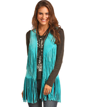 Rock & Roll Cowgirl Women's Turquoise Double Fringe Vest, Turquoise, hi-res