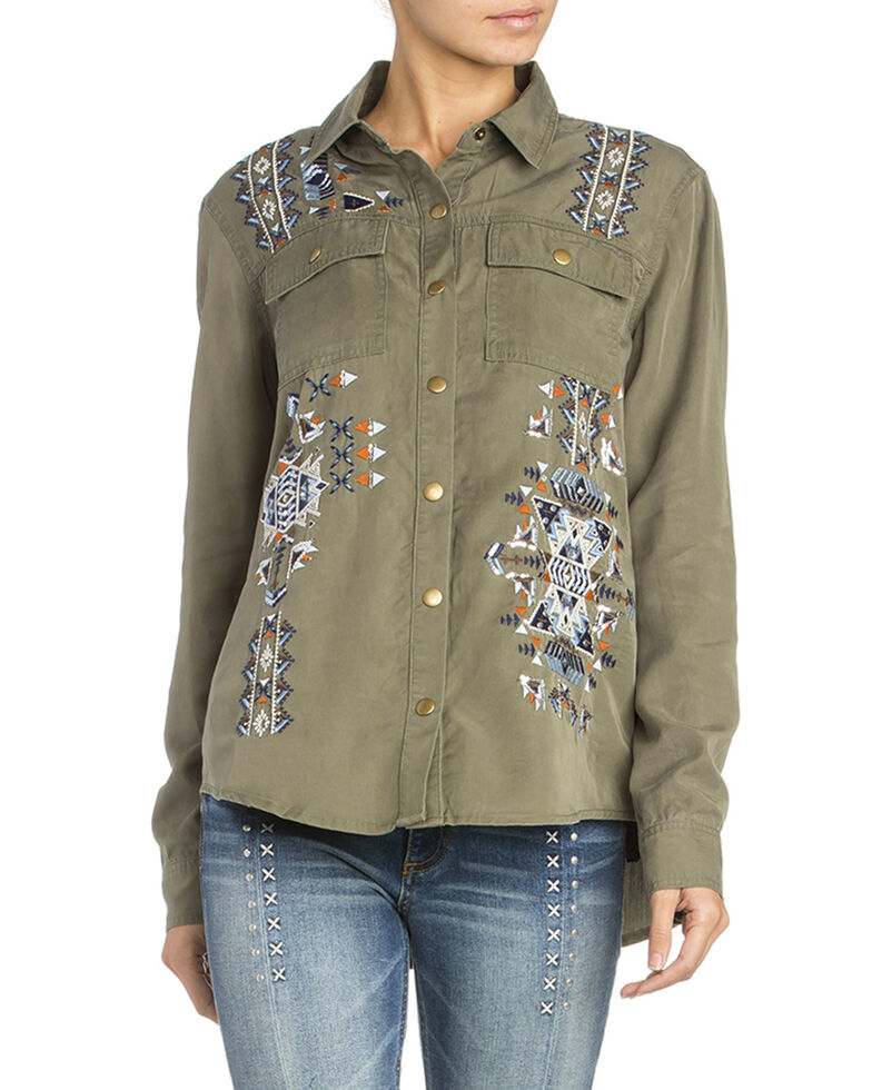 Miss Me Women's Aztec Embroidered Woven Shirt , Olive, hi-res
