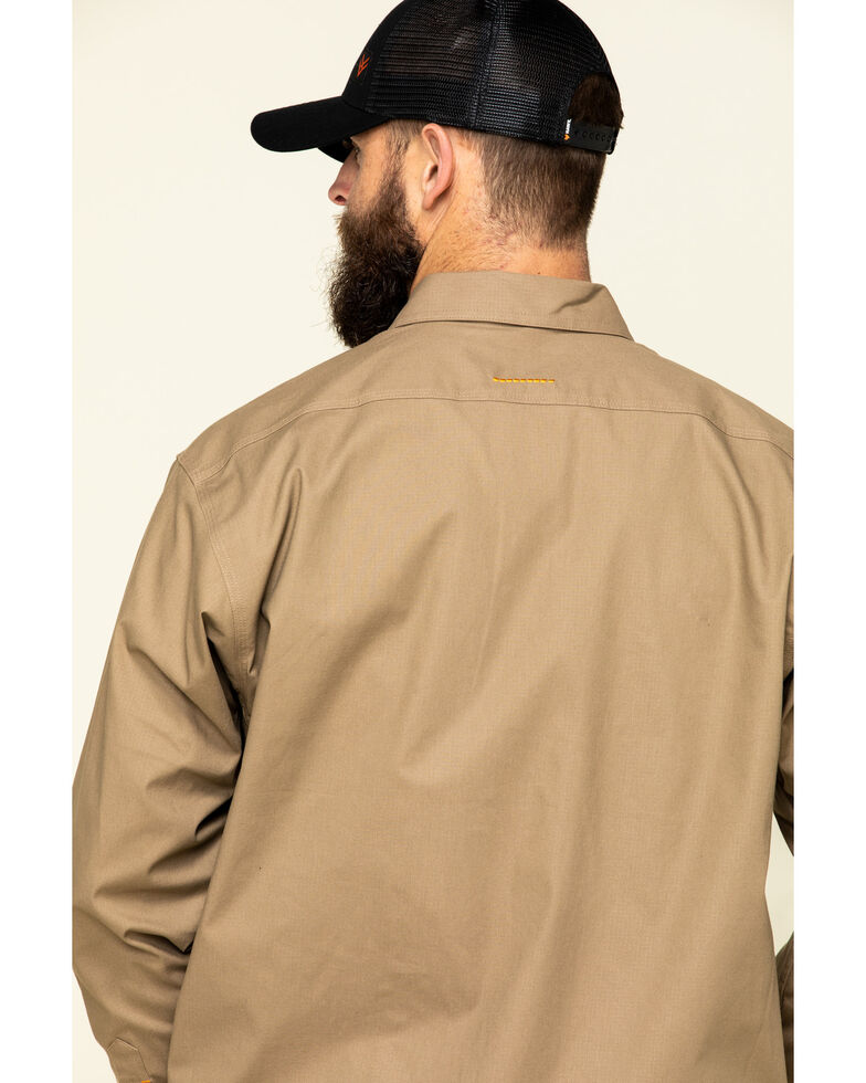 Ariat Men's Khaki Rebar Made Tough Durastretch Long Sleeve Work Shirt - Tall , Beige/khaki, hi-res