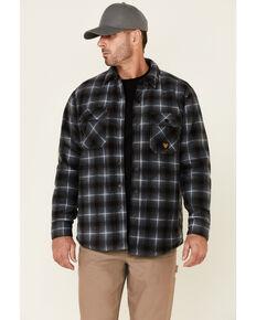 Hawx Men's Black Taylor Plaid Polar Fleece Snap-Front Work Shirt Jacket , Black, hi-res