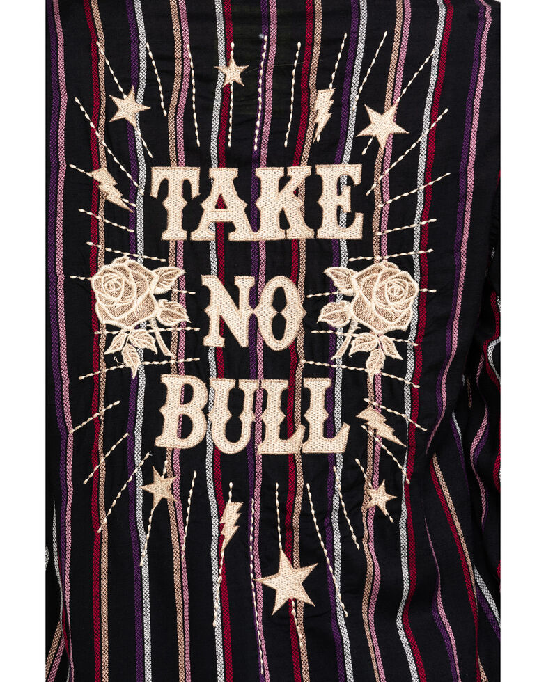 Rock & Roll Cowgirl Women's Stripe Take No Bull  Embroidered Long Sleeve Shirt, Multi, hi-res