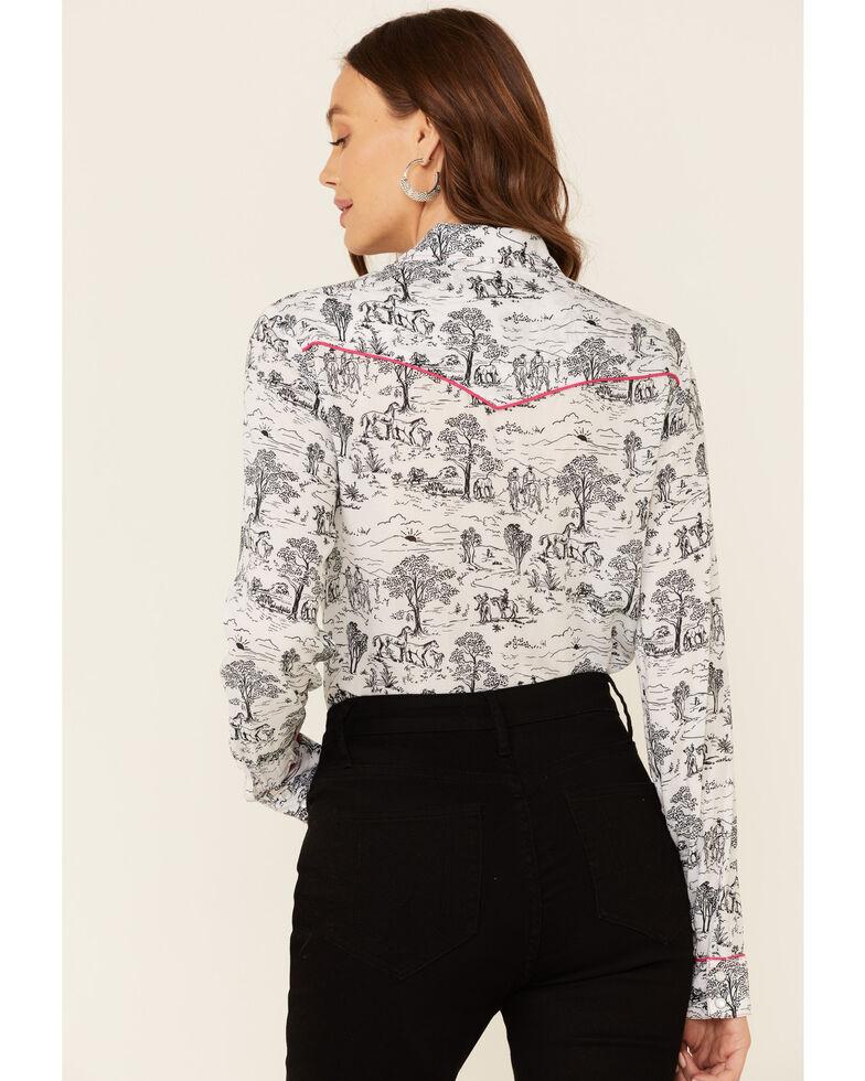 Five Star Women's White Scenic Print Long Sleeve Snap Western Core Shirt , White, hi-res