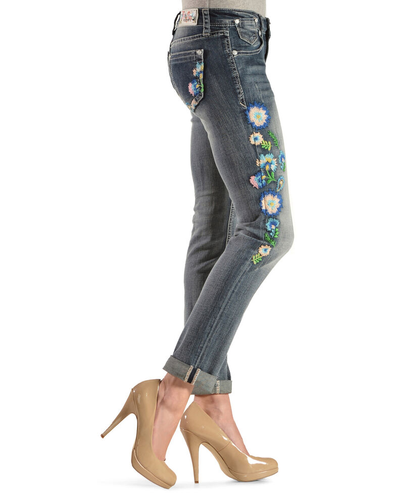 Grace in LA Women's Floral Embroidered Skinny Jeans , Denim, hi-res