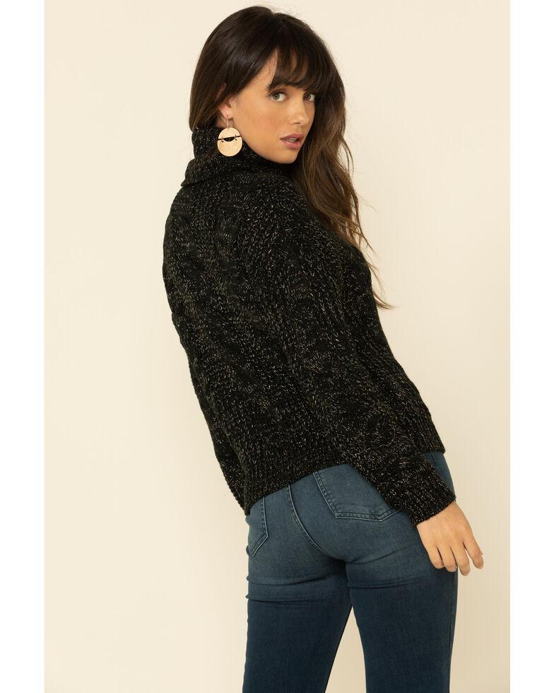 Rock & Roll Denim Women's Lurex Knit Turtleneck Sweater , Black, hi-res