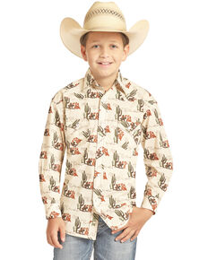Dale Brisby Boys' Tan Cactus Print Long Sleeve Western Shirt , Tan, hi-res