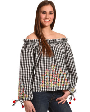 Derek Heart Women's Embroidered Gingham Off The Shoulder Top , Black, hi-res
