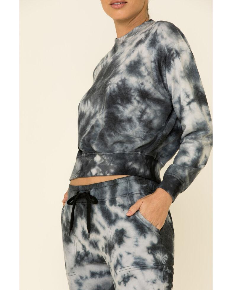 Velvet Heart Women's Black Tie-Dye Cropped Pullover Sweatshirt , Black, hi-res