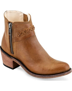 Old West Girls' Tan Braided Stitch Short Boots - Round Toe , Tan, hi-res