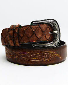 Cody James Men's Pirarucu Embroidered Belt, Brown, hi-res