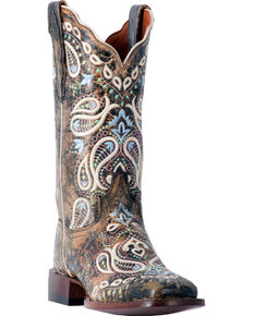 Dan Post Women's Anna Embroidered Cowgirl Boots - Square Toe, Chocolate, hi-res