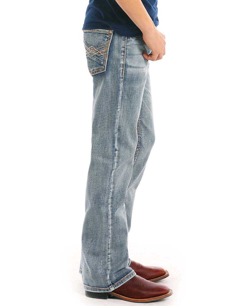 Rock & Roll Cowboy Boys' Triple Abstract Light Boot Jeans , Indigo, hi-res