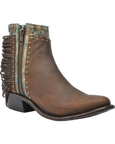 Corral Women's Zipper and Studded Booties - Round Toe , Honey, hi-res