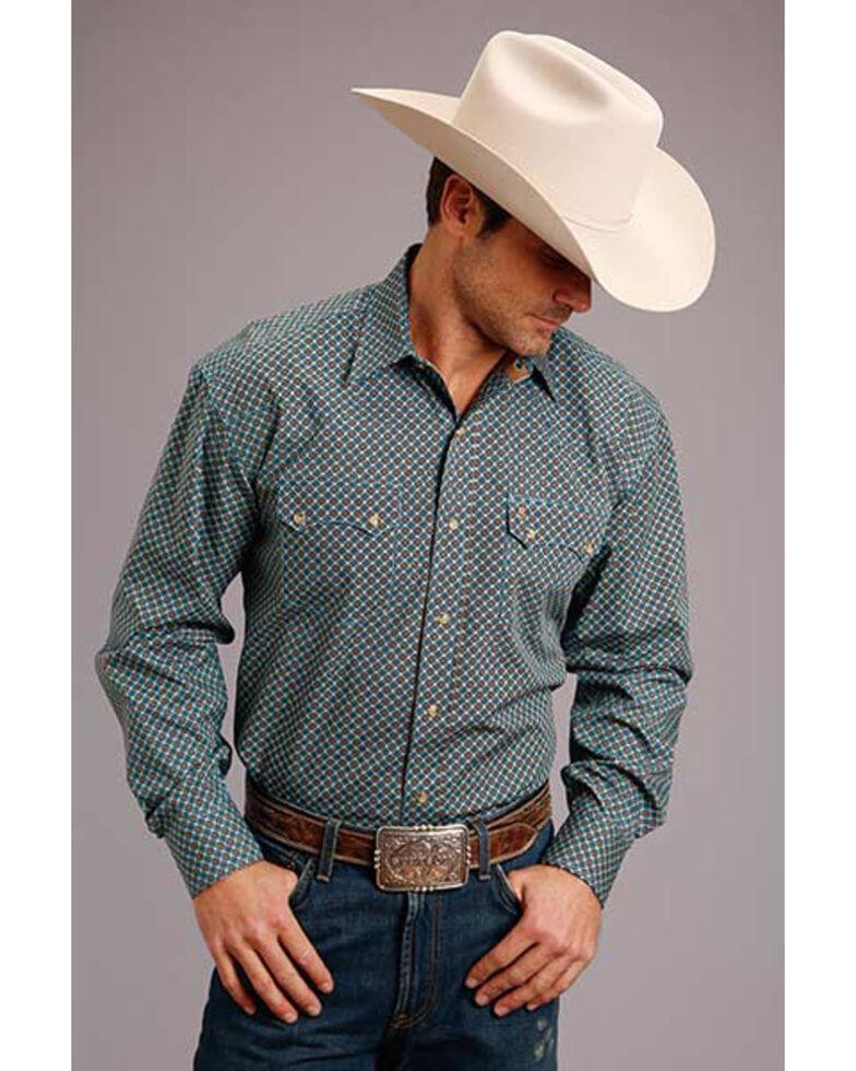 Stetson Men's Small Circle Ring Geo Print Long Sleeve Western Shirt , Grey, hi-res