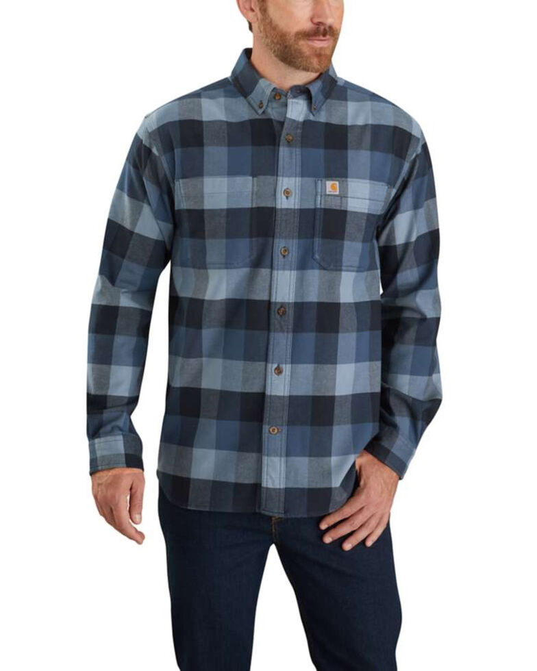 Carhartt Men's Dark Khaki Hamilton Plaid Long Sleeve Flannel Work Shirt - Big , Blue, hi-res