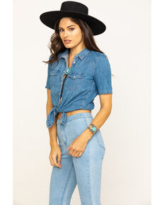 Levi's Women's Medium Wash Ultimate Western Denim Shirt, Medium Blue, hi-res
