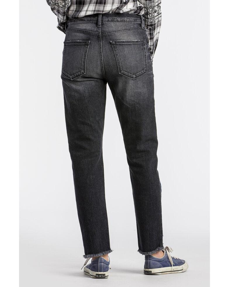 MM Vintage Women's Aztec Patchwork Boyfriend Straight Jeans , Black, hi-res