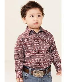 Cody James Toddler Boys' Sioux Aztec Print Long Sleeve Snap Western Shirt , Burgundy, hi-res