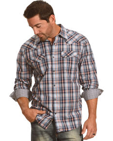 Moonshine Spirit Men's Plaid Long Sleeve Shirt, Blue, hi-res