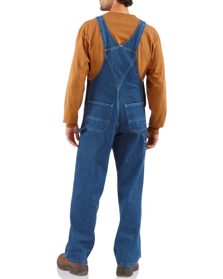 Carhartt Bib Washed Denim Work Overalls, Dark Stone, hi-res